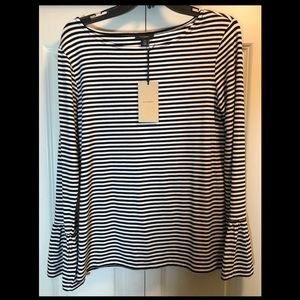 Halogen Black & White Bell Sleeve Shirt